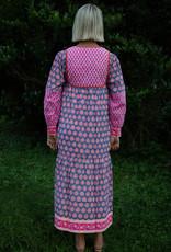 SZ Blockprints SZ Blockprints Jodhpur Dress Bagru Stamp Gaze Blue Neon Papaya