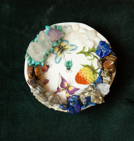 Jen Deibert Strawberry & Butterfly Tiny Crystal Dish Sculpture