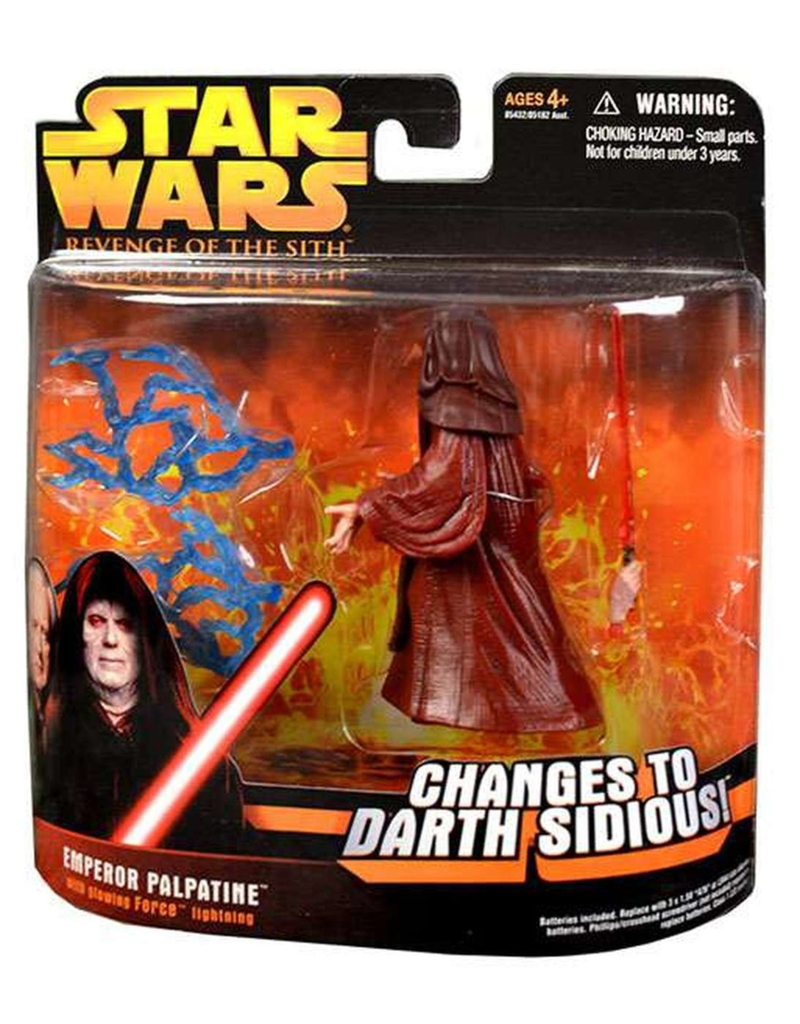 Star Wars Revenge Of The Sith Emperor Palpatine Action Figure Glowing Force Lightning Big Bang Toys