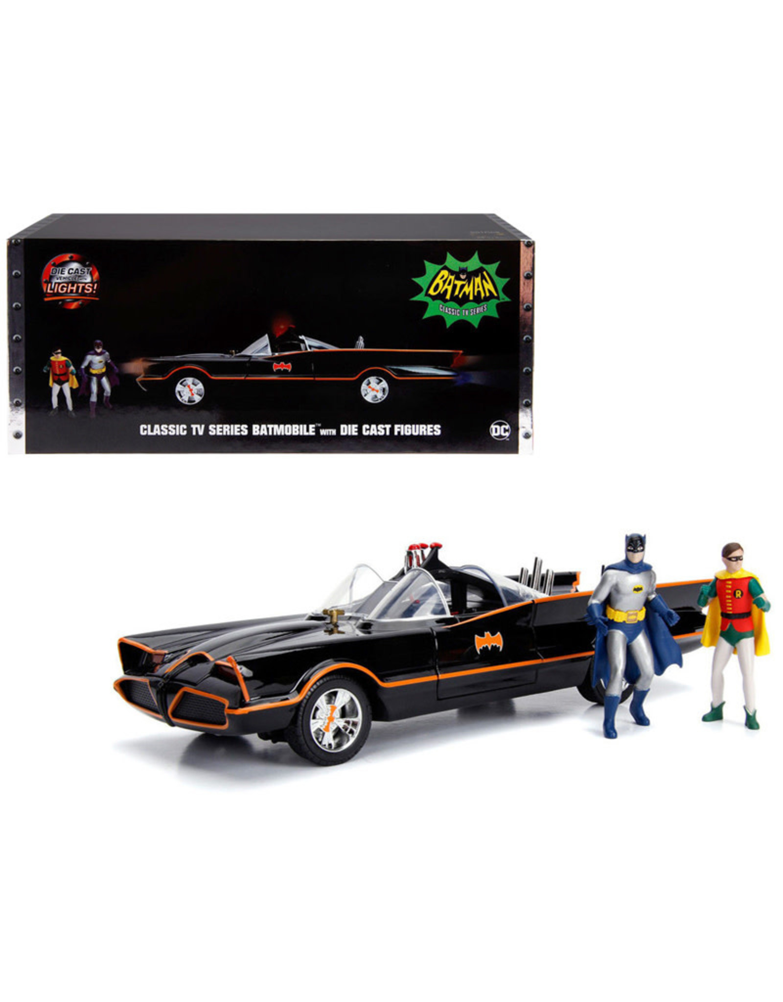 Jada Toys Batman 1966 TV Series Batmobile 1:18 Scale Die-Cast Metal Vehicle with Lights 3-Inch Batman and Robin Figures