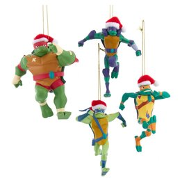 Kurt S. Adler Ninja Turtles with Santa Hat Ornament 4-Pack Set