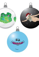 Kurt S. Adler Rick and Morty Decal 3 1/7-Inch Ball Ornament 3-Pack