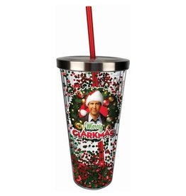 Spoontiques Christmas Vacation Merry Clarkmas Glitter 20 oz. Acrylic Cup with Straw