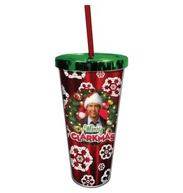 Spoontiques Christmas Vacation Merry Clarkmas 20 oz. Foil Cup with Straw