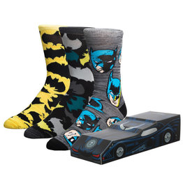 Bioworld DC Comics Batman Bat Mobile 3 Pack Crew Sock Box Set