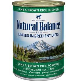 NATURAL BALANCE NB Dog LID Lamb & Rice 13oz