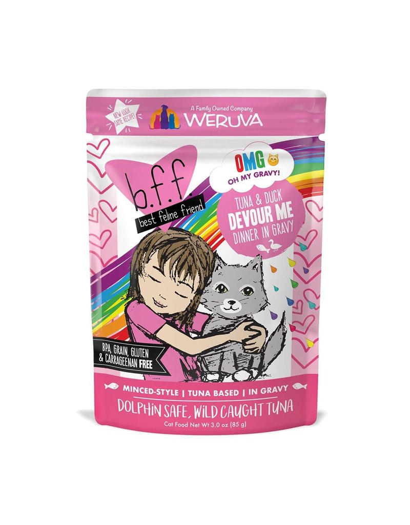 Weruva bff 3 oz Cat Pouch Tuna & Duck Devour Me 12/SLV