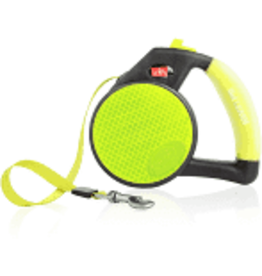 WIGZI LLC Wigzi Yellow med Reflective Gel Retractable Leash to 44 lb EA