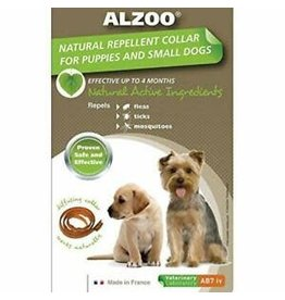 ALZOO NAT REPELLENT F&T SM DOG COLLAR