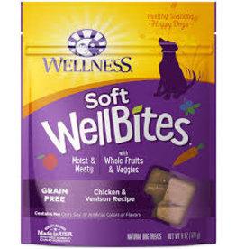 WELLNESS Wellness 6 oz Dog  Well Bites  Chick & Ven Soft Treat GF