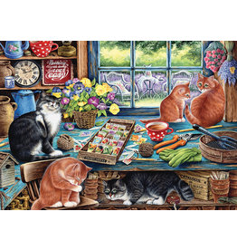 Cobble Hill Garden Shed Cats Tray Puzzle