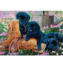 Cobble Hill Black Lab Puppies tray puzzle