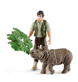 Schleich Ranger and Indian rhinoceros starter set