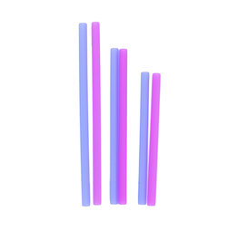 Silicone Family of Straws 6pk - Berry/Cobalt