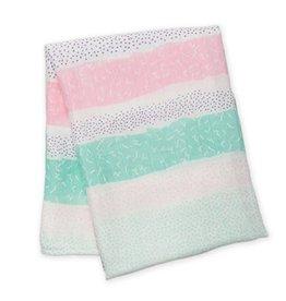 Lulujo - Bamboo Muslin Swaddle -Pink Spotted  Stripe