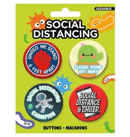 Social Distancing Carded Button 4 Pack