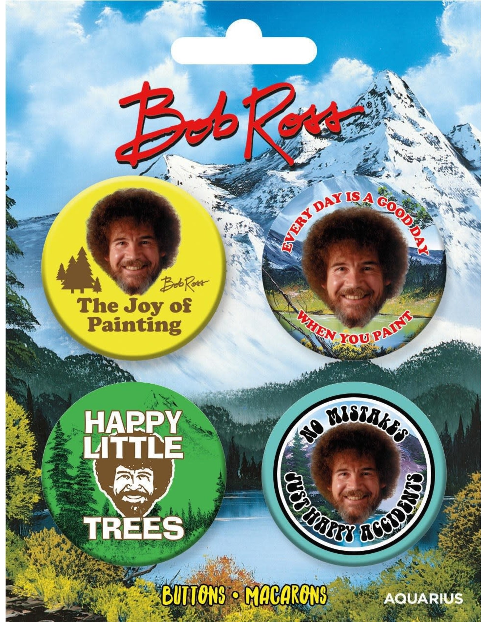 Bob Ross Carded Button 4 Pack