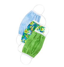 Creative Education Kids Three Pack Protective Face Masks Flowers, Green, Sky Blue
