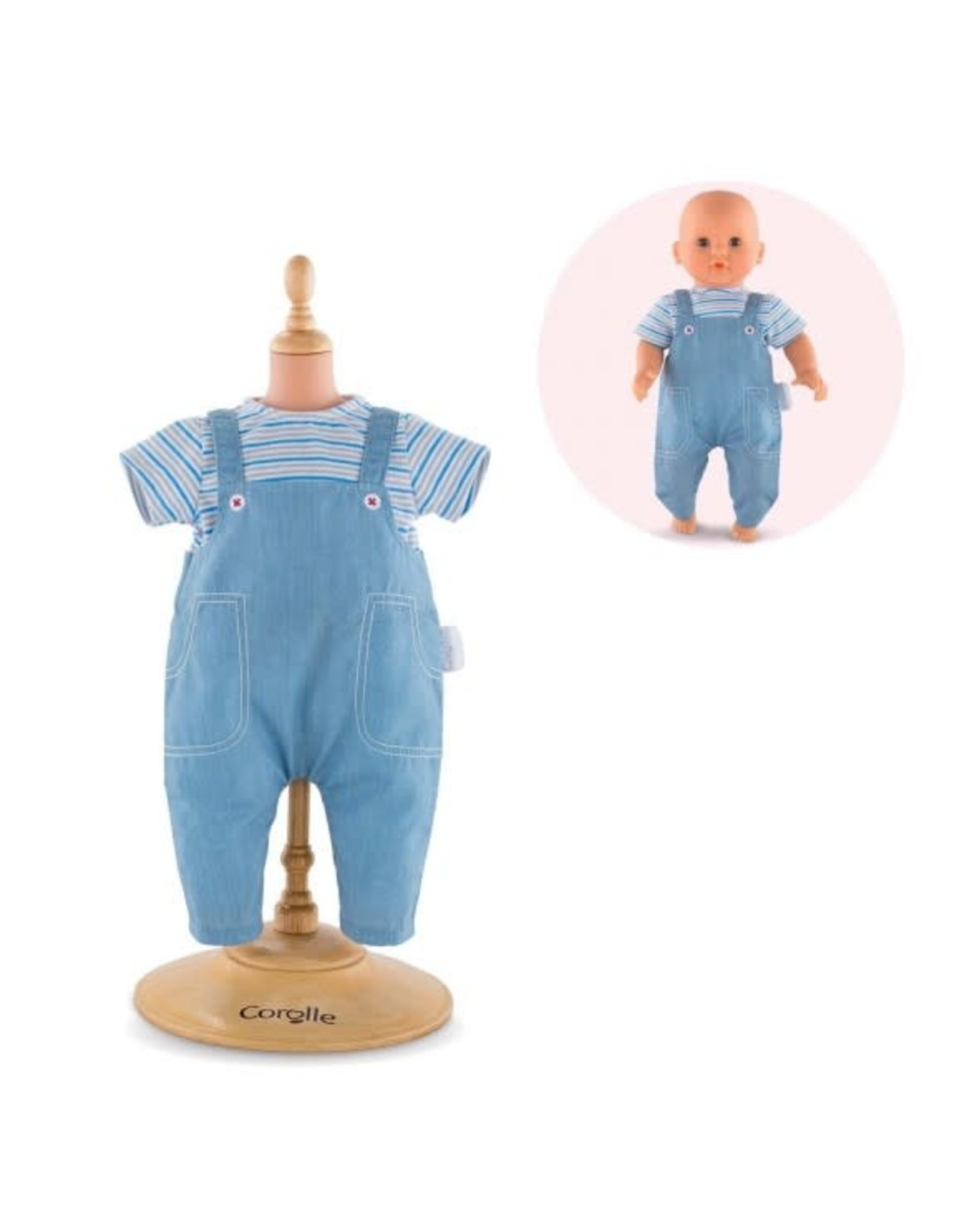 "Corolle Corolle 12"" Striped T-Shirt & Overalls"