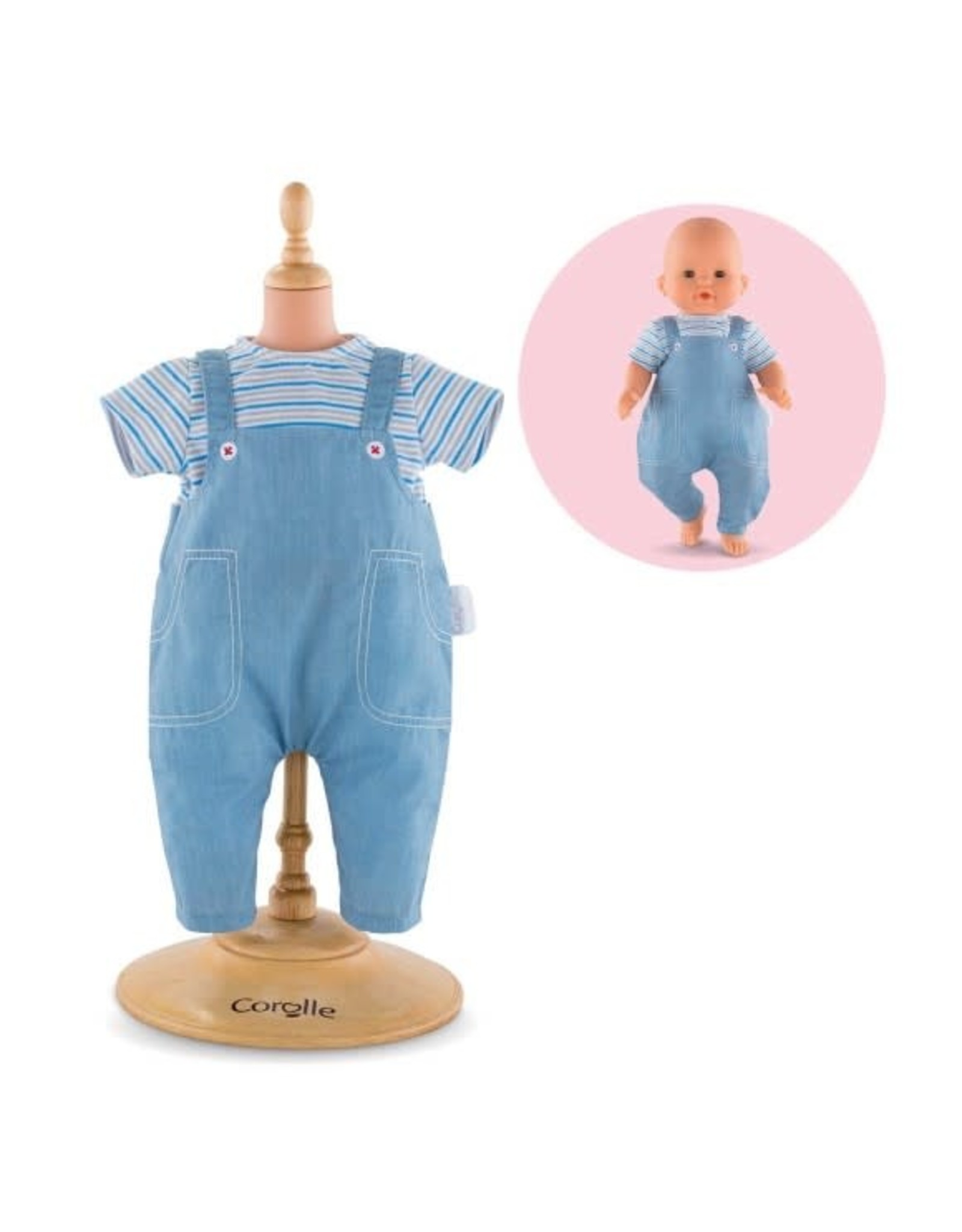 "Corolle Corolle 14"" Striped T-Shirt & Overalls"