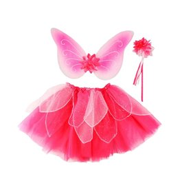 Great Pretenders Fancy Flutter Skirt/Wings/Wand Set Fucshia