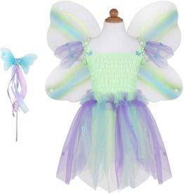 Great Pretenders Butterfly Dress w/Wings & Wand Green/Multi