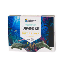 Studiostone Creative Soapstone Carving Kit - Turtle & Orca
