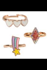 Great Pretenders Boutique Heart Star Rings, 3 pcs