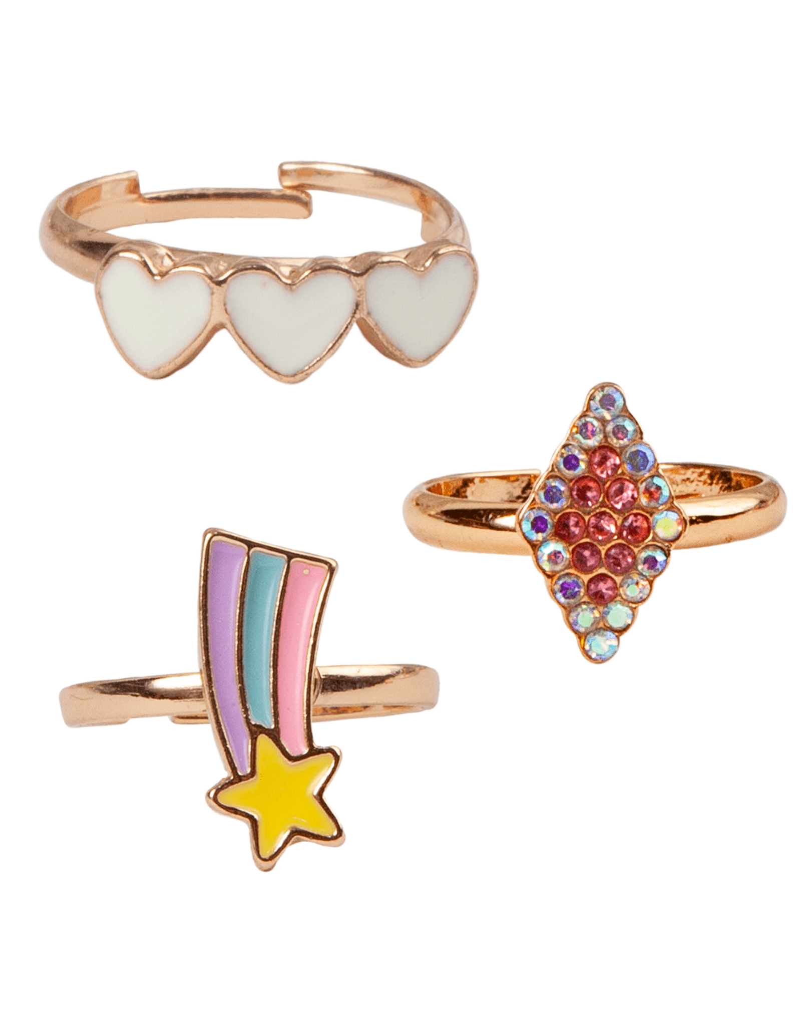 Great Pretenders Boutique Heart Star Rings, 3pc