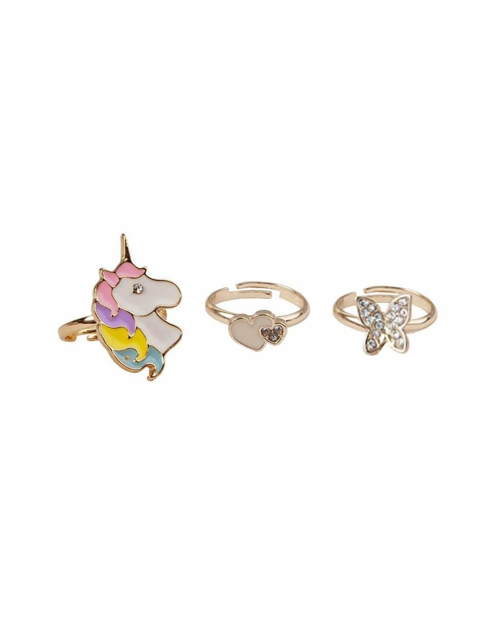 Great Pretenders Boutique Butterfly & Unicorn Ring, 3pc