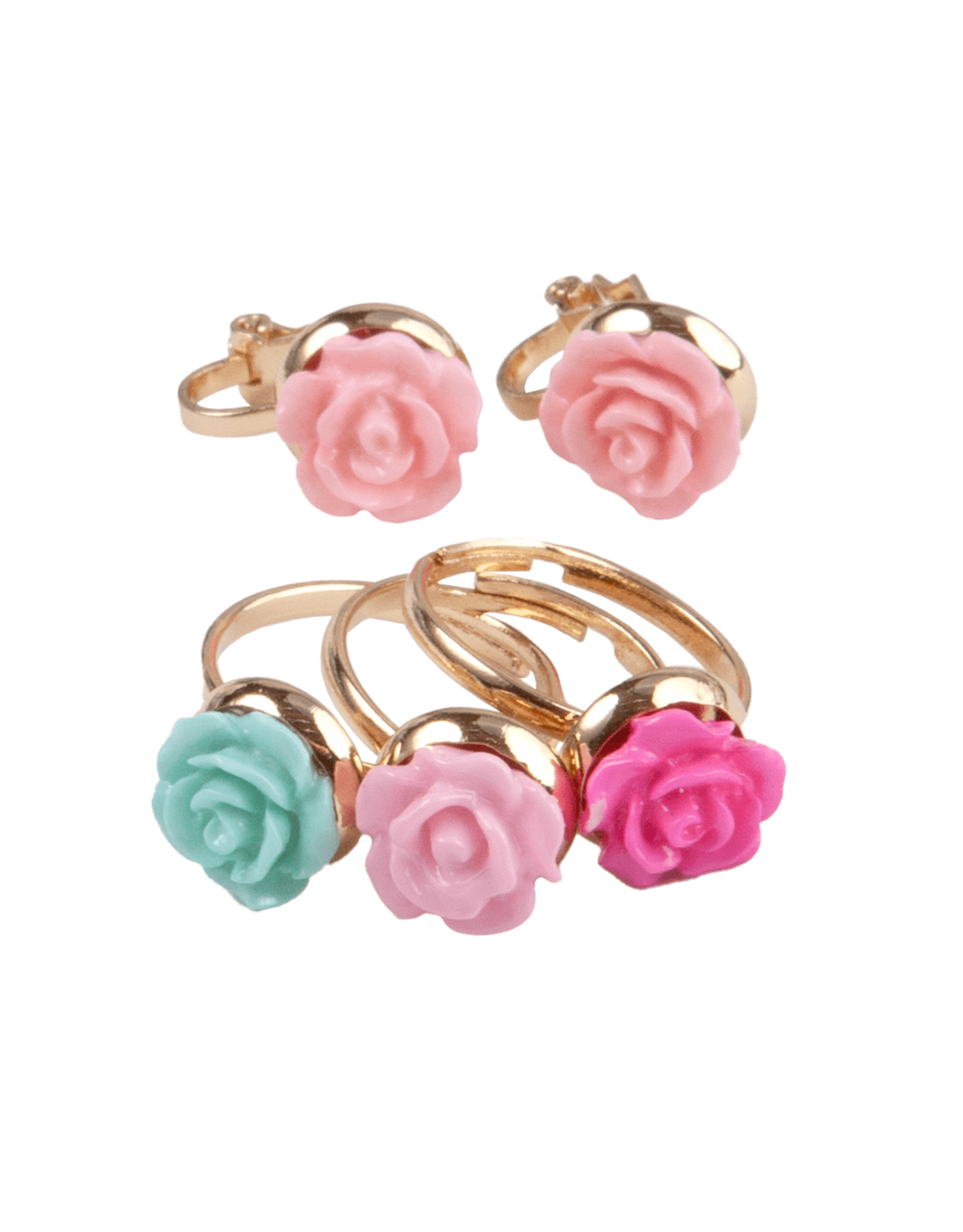 Great Pretenders Boutique Rose Rings & Earring Set