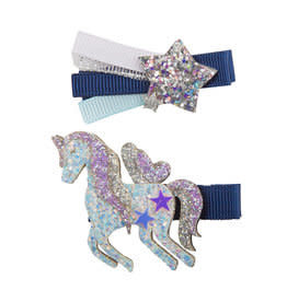 Great Pretenders Boutique Navy Unicorn Star Hairclip