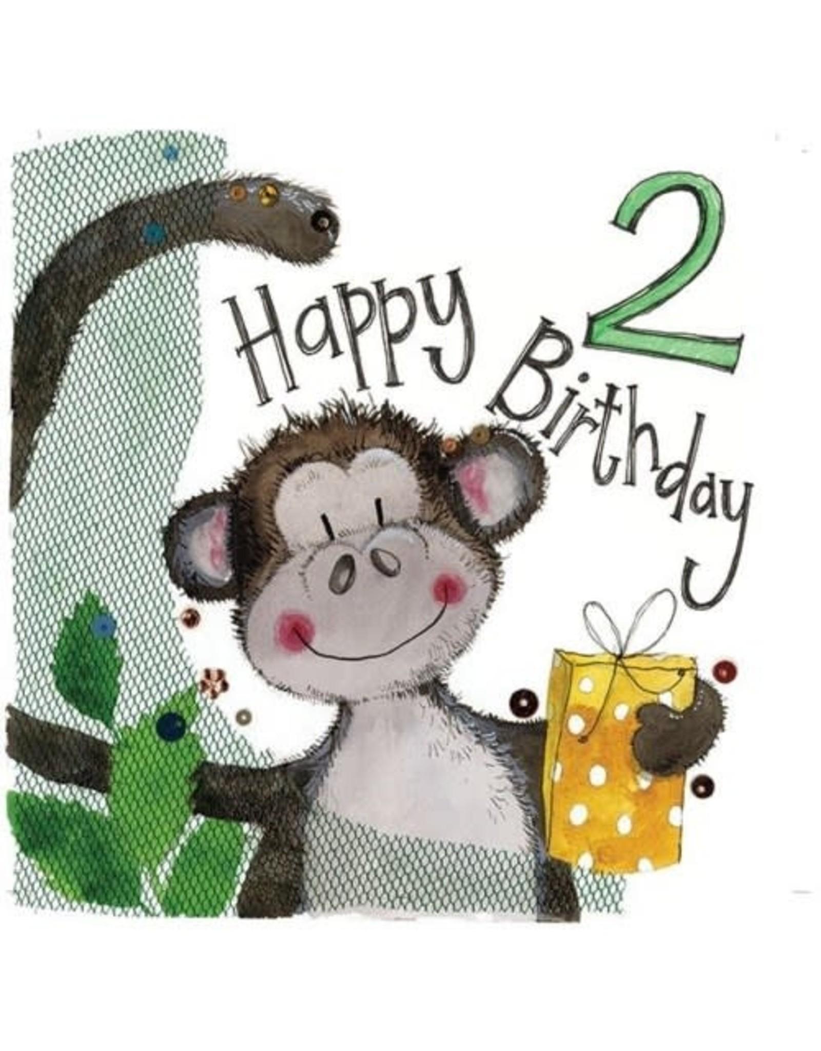 Alex Clark Art 2 Year Old Monkey Birthday Card