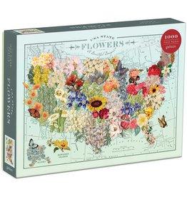 Mudpuppy Wendy Gold USA State Flowers 1000pc