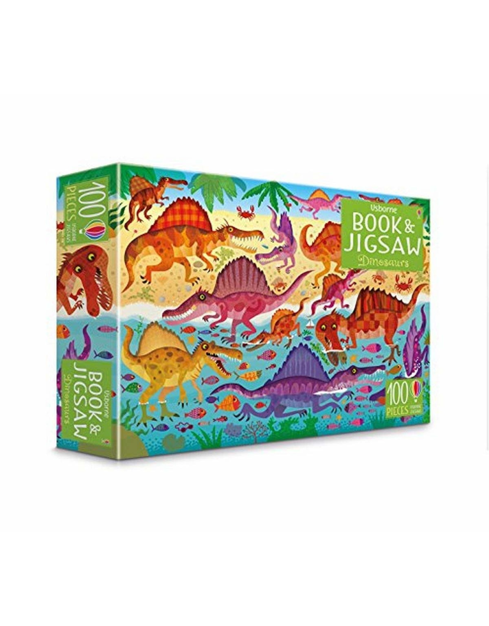 Usborne Dinosaurs Book and 100pc Puzzle
