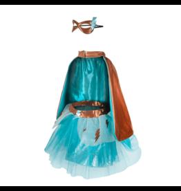 Great Pretenders Copper & Teal Super-Duper Tutu, Cape, & Mask Set