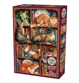 Cobble Hill Feline Bookcase 2000 pc