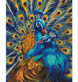 D.I.Y Crystal Art Kit Crystal Art Large Framed Kit - Blue Rapsody Peacocks