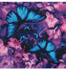 D.I.Y Crystal Art Kit Crystal Art Medium Framed Kit - Blue Violet Butterflies