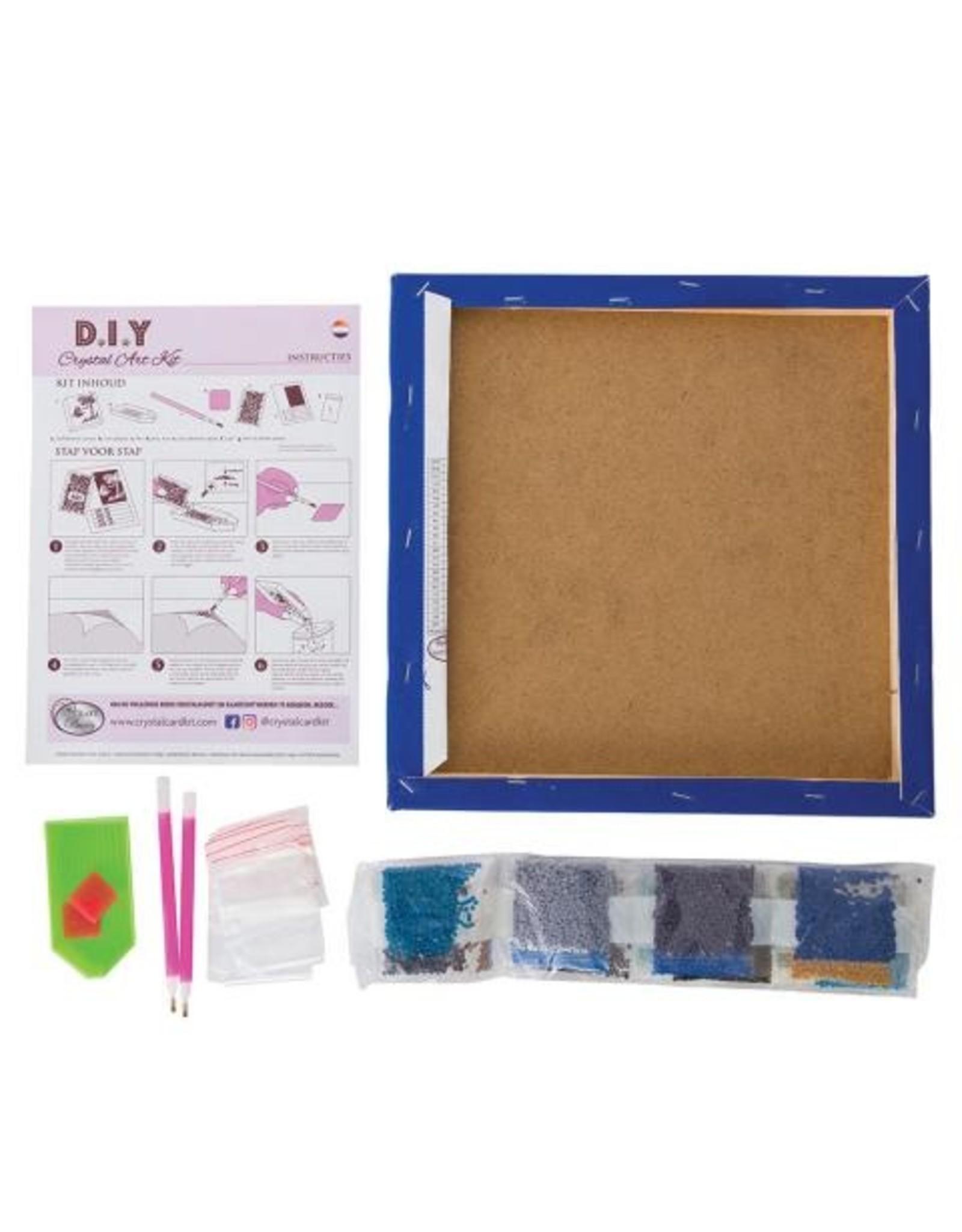 D.I.Y Crystal Art Kit Crystal Art Medium Framed Kit - Blue Violet Butterflies