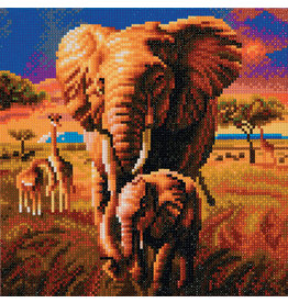 D.I.Y Crystal Art Kit Crystal Art Medium Framed Kit - Elephant of the Savannah