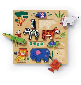 Crocodile Creek 123 Zoo 10 pc Stacking Wood Puzzle