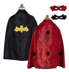 Great Pretenders Reversible Spider/Bat Cape & Mask, Size 3/4