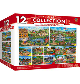 Master Pieces Folk Art Scenes - 12 Pack Jigsaw Puzzles