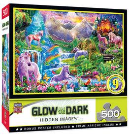 Master Pieces Hidden Images Glow In The Dark - Unicorns Retreat 500 pc Puzzle