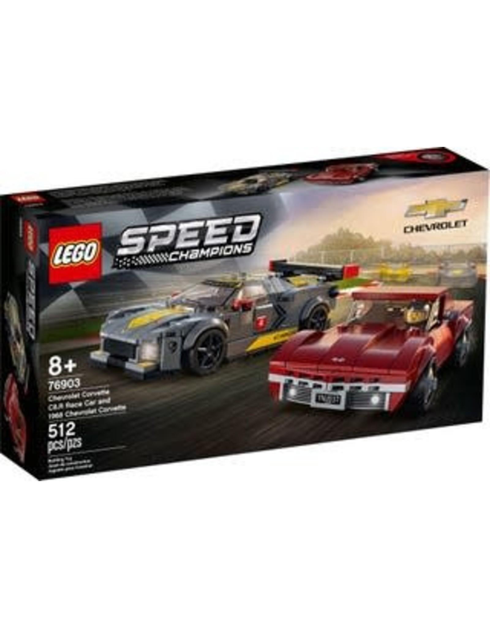 Lego Chevrolet Corvette C8.R Race Car and 1968 Chevrolet Corvette