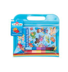 Ooly Mini Traveler Coloring + Activity Kit - Superkids & Pets