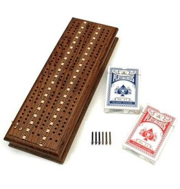 Cribbage Set - Solid Oak Medium Stained Wood with Inlay