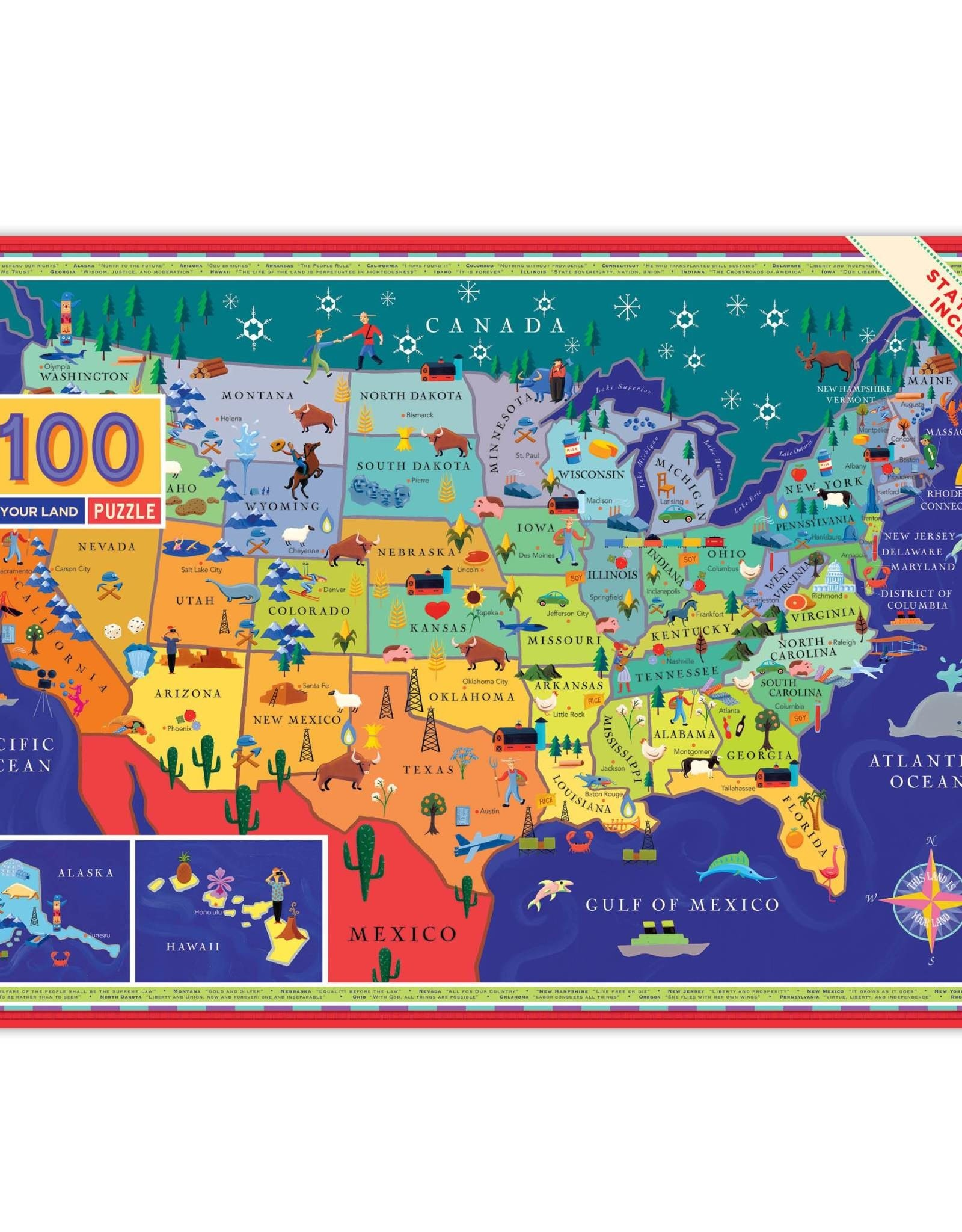 eeBoo 100pc-Puzzle: This Land is Your Land, 2nd Ed