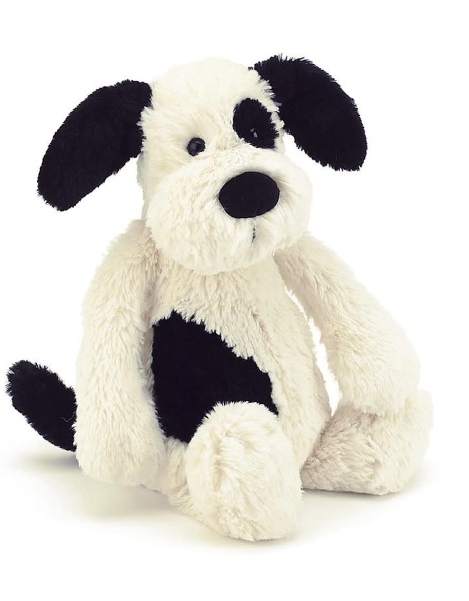 "Jellycat Bashful Black & Cream Puppy: Medium 12"""